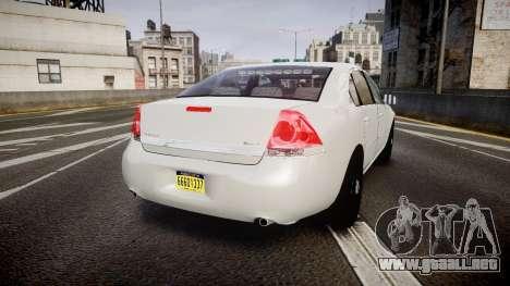 Chevrolet Impala Unmarked Police [ELS] tw para GTA 4 Vista posterior izquierda