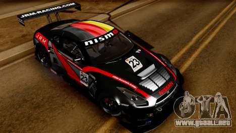 Nissan GT-R (R35) GT3 2012 PJ3 para vista lateral GTA San Andreas