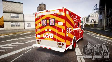 Freightliner M2 2014 Ambulance [ELS] para GTA 4 Vista posterior izquierda