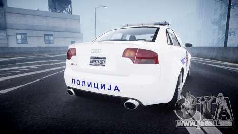 Audi RS4 Serbian Police [ELS] para GTA 4 Vista posterior izquierda