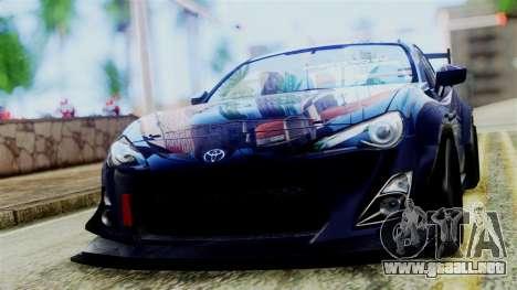 Toyota GT86 para GTA San Andreas vista posterior izquierda