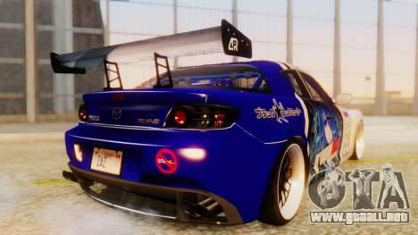 Mazda RX-8 Tuned Black Rock Shooter Itasha para GTA San Andreas vista posterior izquierda