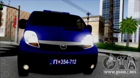 Opel Vivaro Policija para GTA San Andreas vista hacia atrás