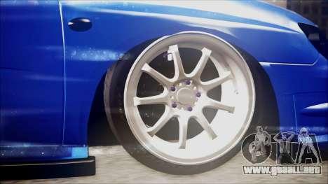 Subaru Impreza WRX STI B. O. Construction para GTA San Andreas vista posterior izquierda