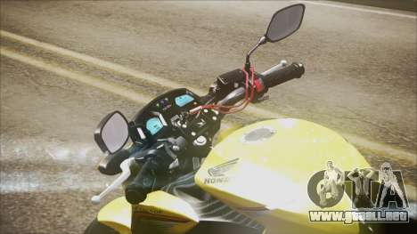 Honda CB650F Amarela para GTA San Andreas vista posterior izquierda