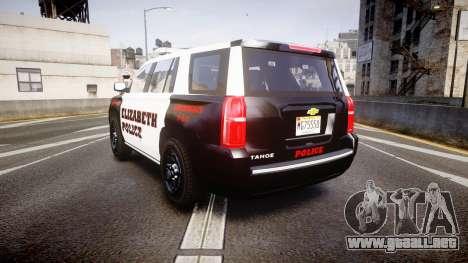 Chevrolet Tahoe 2015 Elizabeth Police [ELS] para GTA 4 Vista posterior izquierda