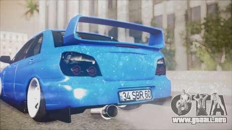Subaru Impreza WRX STI B. O. Construction para GTA San Andreas vista hacia atrás