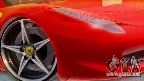 Ferrari 458 Italia para GTA San Andreas vista posterior izquierda