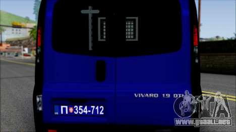 Opel Vivaro Policija para visión interna GTA San Andreas