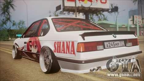 BMW E24 Shakugan No Shana Itasha para GTA San Andreas vista posterior izquierda