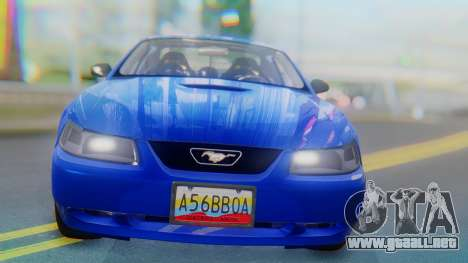 Ford Mustang 1999 Clean para GTA San Andreas vista hacia atrás
