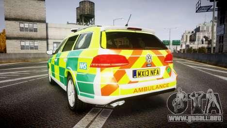 Volkswagen Passat B7 North West Ambulance [ELS] para GTA 4 Vista posterior izquierda