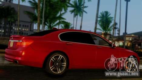 BMW 7 Series F02 2013 para GTA San Andreas vista hacia atrás