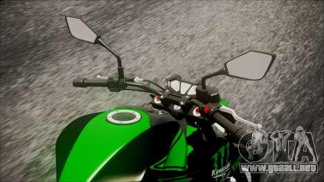 Kawasaki Z800 Monster Energy para GTA San Andreas vista hacia atrás