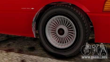 GTA 4 Admiral v2 para GTA San Andreas vista posterior izquierda