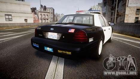 Ford Crown Victoria 2011 LAPD [ELS] rims1 para GTA 4 Vista posterior izquierda