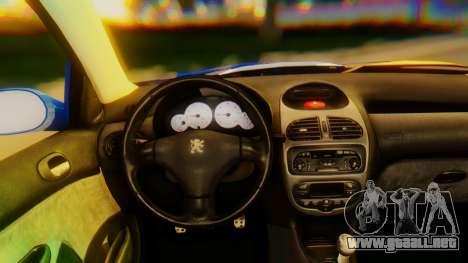 Peugeot 206 Full Tuning para la visión correcta GTA San Andreas