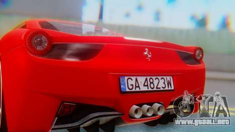 Ferrari 458 Italia para visión interna GTA San Andreas