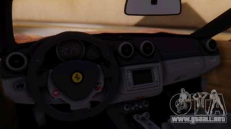 Ferrari California v2.0 para GTA San Andreas vista hacia atrás