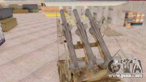 2K12 Kub from CoD MW para GTA San Andreas vista posterior izquierda