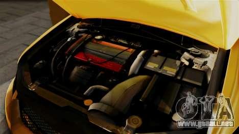 Mitsubishi Lancer Evolution 2015 para GTA San Andreas vista hacia atrás