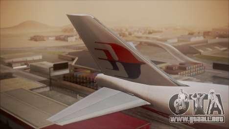 Boeing 747-200 Malaysia Airlines para GTA San Andreas vista posterior izquierda