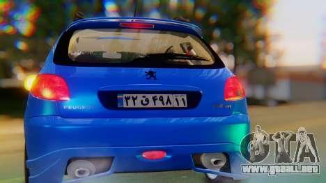 Peugeot 206 Full Tuning para visión interna GTA San Andreas