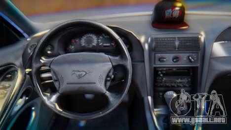 Ford Mustang 1999 Clean para la visión correcta GTA San Andreas