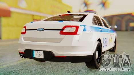 Ford Taurus Iraq Police v2 para GTA San Andreas vista posterior izquierda