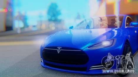Tesla Model S para GTA San Andreas vista hacia atrás