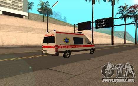 Mercedes-Benz Sprinter Ambulancia Ucrania para GTA San Andreas vista posterior izquierda