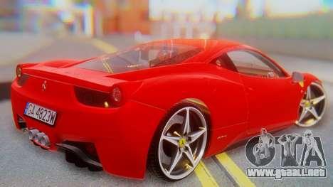 Ferrari 458 Italia para GTA San Andreas left