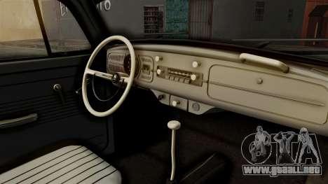 Volkswagen Beetle 1963 Policia Federal para GTA San Andreas vista hacia atrás