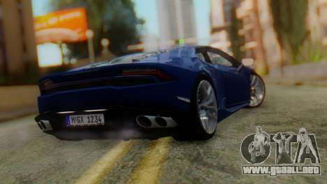 Lamborghini Huracan 2015 para GTA San Andreas left