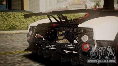 Pagani Zonda Cinque 2009 Autovista para GTA San Andreas vista hacia atrás