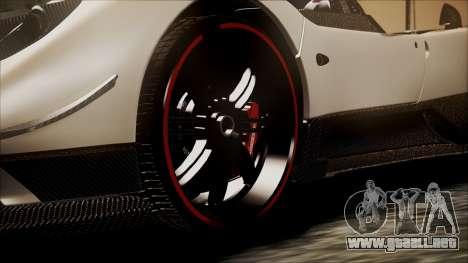 Pagani Zonda Cinque 2009 Autovista para GTA San Andreas vista posterior izquierda