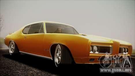 Pontiac GTO 1968 para GTA San Andreas vista posterior izquierda