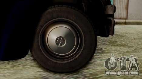 Volkswagen Beetle 1963 Policia Federal para GTA San Andreas vista posterior izquierda