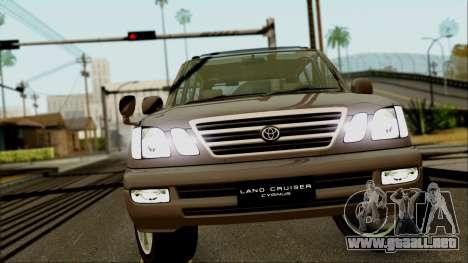 Toyota Land Cruiser Cygnus para GTA San Andreas vista hacia atrás