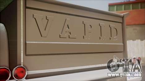GTA 5 Vapid Slamvan Pickup para GTA San Andreas vista hacia atrás