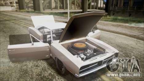 Dodge Charger RT 1969 para GTA San Andreas vista hacia atrás