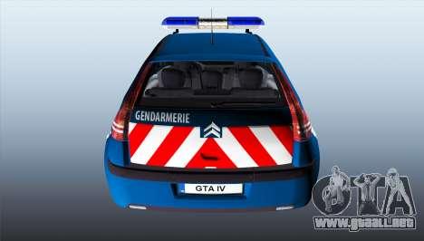 Citroen C4 Gendarmerie [ELS] para GTA 4 Vista posterior izquierda