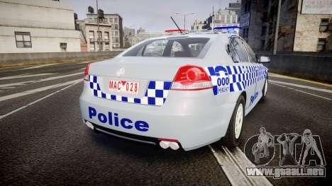 Holden Commodore Omega Victoria Police [ELS] para GTA 4 Vista posterior izquierda