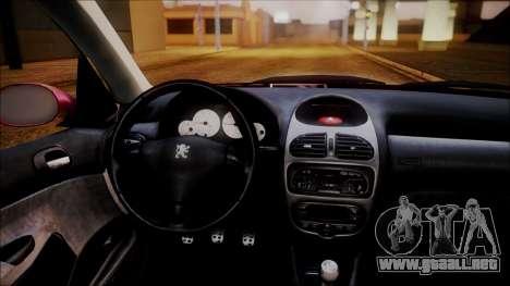 Peugeot 206 Al Piso para GTA San Andreas vista hacia atrás