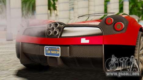 Pegassi Osyra para GTA San Andreas vista hacia atrás
