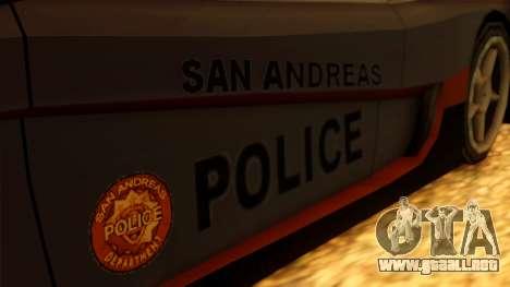 Police Turismo para GTA San Andreas vista posterior izquierda