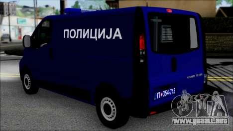 Opel Vivaro Policija para GTA San Andreas left