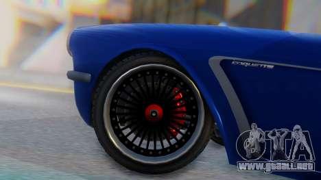 Invetero Coquette BlackFin Convertible para GTA San Andreas vista posterior izquierda