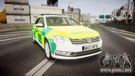 Volkswagen Passat B7 North West Ambulance [ELS] para GTA 4