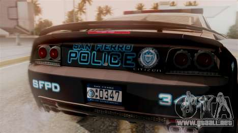 Hunter Citizen from Burnout Paradise Police SF para GTA San Andreas vista hacia atrás